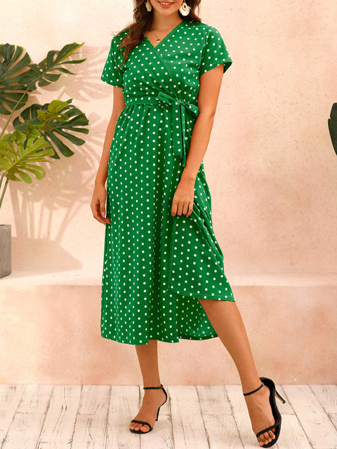 Color=Green | Adorable Polka Dot V Neck Casual Dress With Belt-Green 5