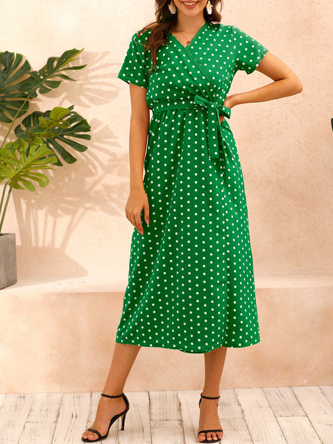 Color=Green | Adorable Polka Dot V Neck Casual Dress With Belt-Green 1