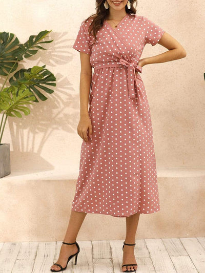 Color=Pink | Adorable Polka Dot V Neck Casual Dress With Belt-Pink 1