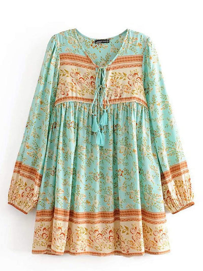 Color=Green | Casual Boho Printed Midi Holiday Beach Sundress With Long Sleeves-Green 1