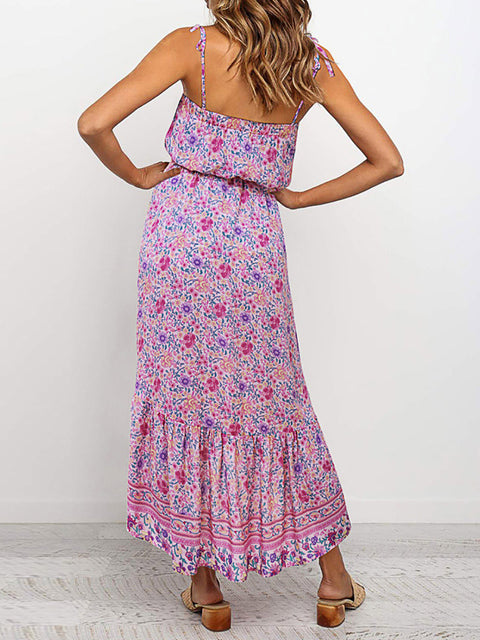 Color=Pink | Women'S Maxi Boho Sundress With Spaghetti Straps & Belt-Pink 2