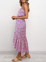 Color=Pink | Women'S Maxi Boho Sundress With Spaghetti Straps & Belt-Pink 3