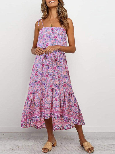 Color=Pink | Women'S Maxi Boho Sundress With Spaghetti Straps & Belt-Pink 1
