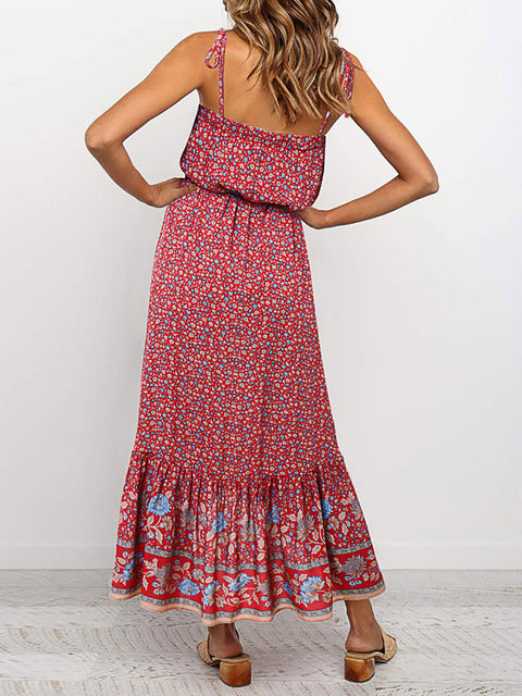Color=Red | Women'S Maxi Boho Sundress With Spaghetti Straps & Belt-Red 2