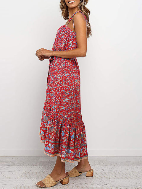 Color=Red | Women'S Maxi Boho Sundress With Spaghetti Straps & Belt-Red 3