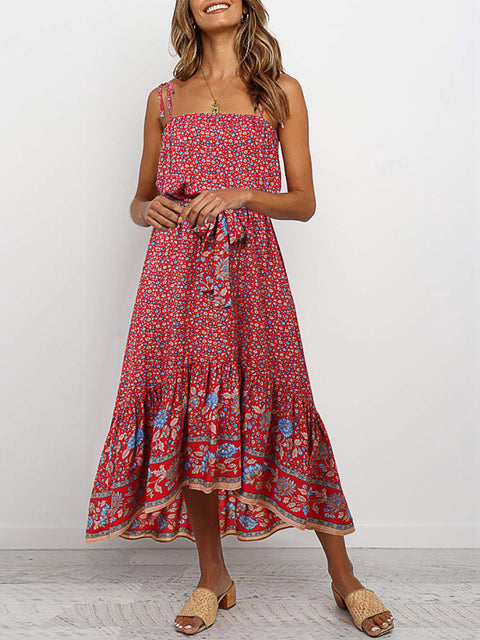 Color=Red | Women'S Maxi Boho Sundress With Spaghetti Straps & Belt-Red 1