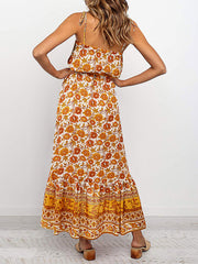 Color=Yellow | Women'S Maxi Boho Sundress With Spaghetti Straps & Belt-Yellow 2