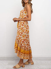 Color=Yellow | Women'S Maxi Boho Sundress With Spaghetti Straps & Belt-Yellow 3