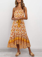 Color=Yellow | Women'S Maxi Boho Sundress With Spaghetti Straps & Belt-Yellow 1