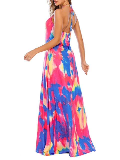 Color=Sky Blue | Sassy High Collar Halter Sleeveless Floor-Length Tie-Dye Sundress-Sky Blue 2