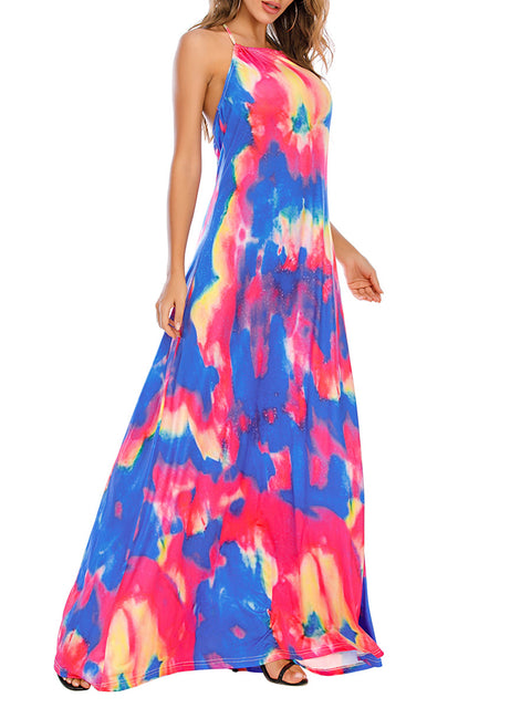 Color=Sky Blue | Sassy High Collar Halter Sleeveless Floor-Length Tie-Dye Sundress-Sky Blue 3