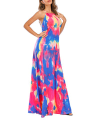 Color=Sky Blue | Sassy High Collar Halter Sleeveless Floor-Length Tie-Dye Sundress-Sky Blue 4