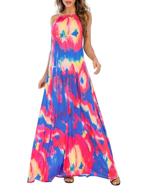 Color=Sky Blue | Sassy High Collar Halter Sleeveless Floor-Length Tie-Dye Sundress-Sky Blue 1