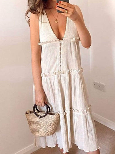 Color=White | Cute Solid Color Buttoned Up Loose Summer Dress With V Neck-White 1