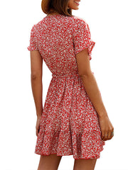 Color=Red | Sexy Floral Ruffled Summer Dress For Women With A Knot-Red 2