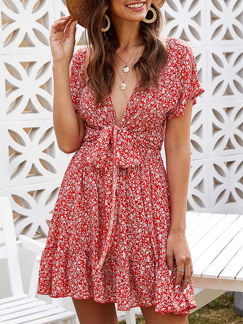 Color=Red | Sexy Floral Ruffled Summer Dress For Women With A Knot-Red 1