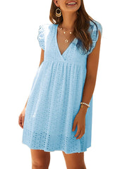 Color=Sky Blue | Cute Solid V Neck Loose Lace Sundress For Women-Sky Blue 1