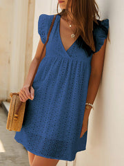 Color=Navy Blue | Cute Solid V Neck Loose Lace Sundress For Women-Navy Blue 1