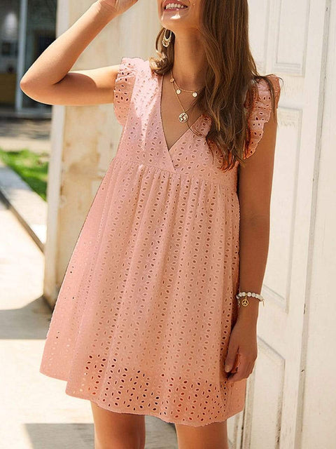 Color=Pink | Cute Solid V Neck Loose Lace Sundress For Women-Pink 1