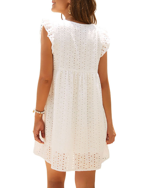 Color=White | Cute Solid V Neck Loose Lace Sundress For Women-White 2