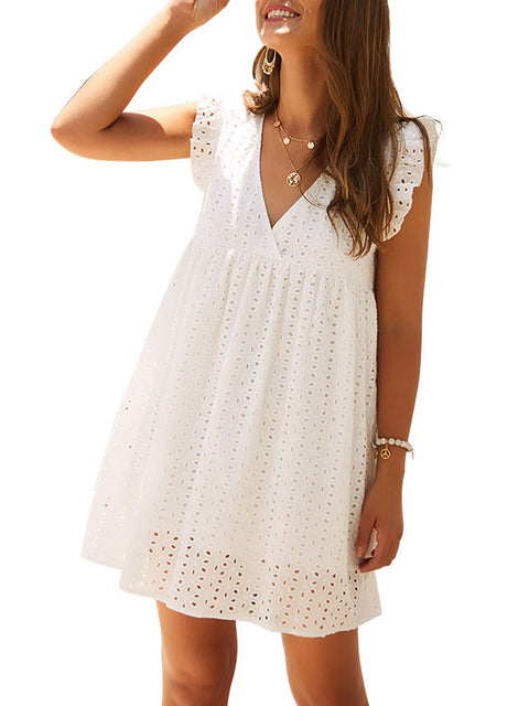 Color=White | Cute Solid V Neck Loose Lace Sundress For Women-White 3