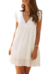 Color=White | Cute Solid V Neck Loose Lace Sundress For Women-White 1