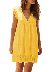 Color=Yellow | Cute Solid V Neck Loose Lace Sundress For Women-Yellow 1