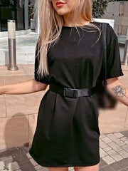 Color=Black | Home Furnishing Loose Sports Fashion Casual T-Shirt Dress With Belt Solid Color-Black 2