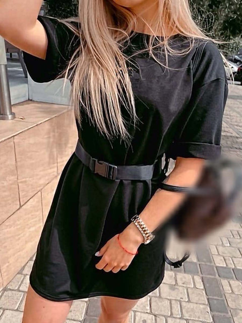 Color=Black | Home Furnishing Loose Sports Fashion Casual T-Shirt Dress With Belt Solid Color-Black 3