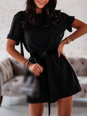 Color=Black | Home Furnishing Loose Sports Fashion Casual T-Shirt Dress With Belt Solid Color-Black 1