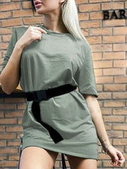 Color=Green | Home Furnishing Loose Sports Fashion Casual T-Shirt Dress With Belt Solid Color-Green 1