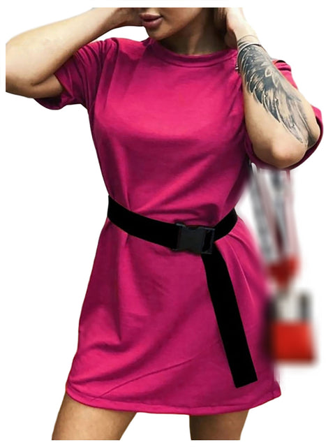 Color=Hot Pink | Home Furnishing Loose Sports Fashion Casual T-Shirt Dress With Belt Solid Color-Hot Pink 2
