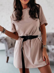 Color=Mushroom | Home Furnishing Loose Sports Fashion Casual T-Shirt Dress With Belt Solid Color-Mushroom 1