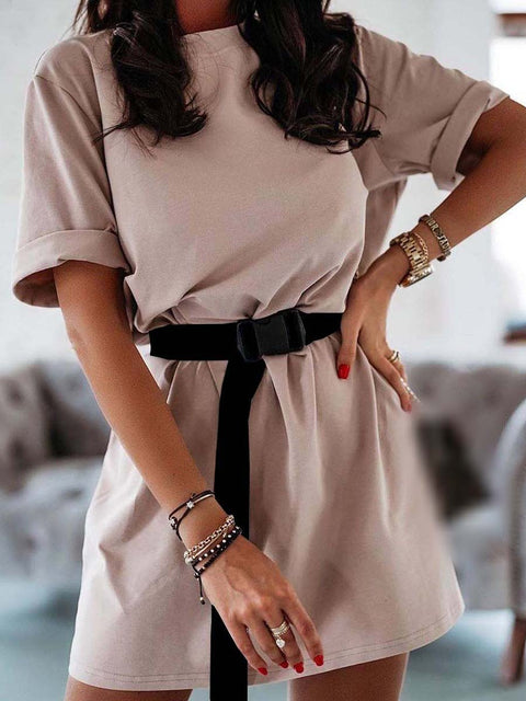Color=Mushroom | Home Furnishing Loose Sports Fashion Casual T-Shirt Dress With Belt Solid Color-Mushroom 2