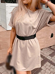 Color=Mushroom | Home Furnishing Loose Sports Fashion Casual T-Shirt Dress With Belt Solid Color-Mushroom 3