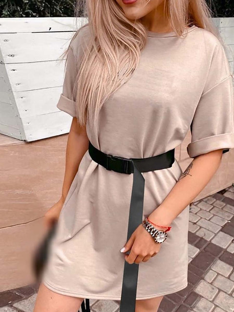 Color=Mushroom | Home Furnishing Loose Sports Fashion Casual T-Shirt Dress With Belt Solid Color-Mushroom 4