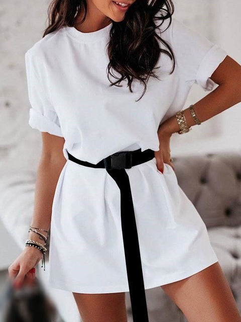 Color=White | Home Furnishing Loose Sports Fashion Casual T-Shirt Dress With Belt Solid Color-White 1