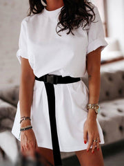 Color=White | Home Furnishing Loose Sports Fashion Casual T-Shirt Dress With Belt Solid Color-White 2