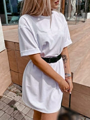 Color=White | Home Furnishing Loose Sports Fashion Casual T-Shirt Dress With Belt Solid Color-White 4