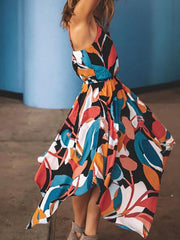 Color=Multicolor | Gorgeous Printed V Neck Sleeveless Asymmetrical Hem Summer Dress-Multicolor 2