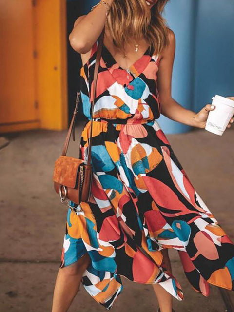 Color=Multicolor | Gorgeous Printed V Neck Sleeveless Asymmetrical Hem Summer Dress-Multicolor 3
