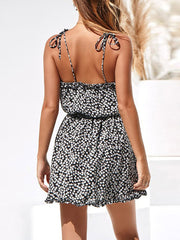 Color=Black | Cute Short Printed Summer Dress With Spaghetti Straps-Black 2