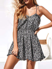 Color=Black | Cute Short Printed Summer Dress With Spaghetti Straps-Black 4