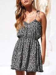 Color=Black | Cute Short Printed Summer Dress With Spaghetti Straps-Black 1