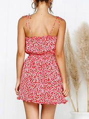 Color=Red | Cute Short Printed Summer Dress With Spaghetti Straps-Red 2