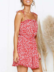 Color=Red | Cute Short Printed Summer Dress With Spaghetti Straps-Red 3