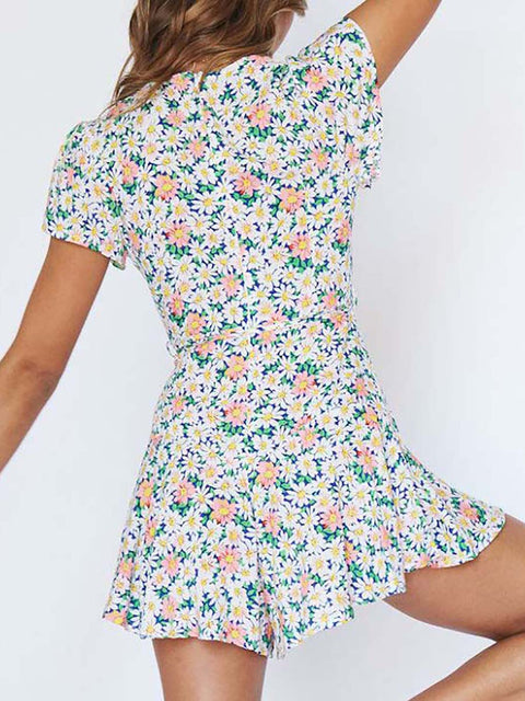 Color=White | Dainty Floral Printed Summer Dress With Deep V Neck-White 3
