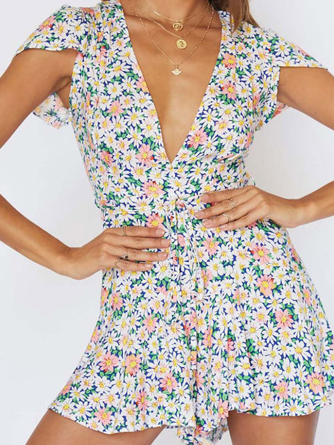 Color=White | Dainty Floral Printed Summer Dress With Deep V Neck-White 2