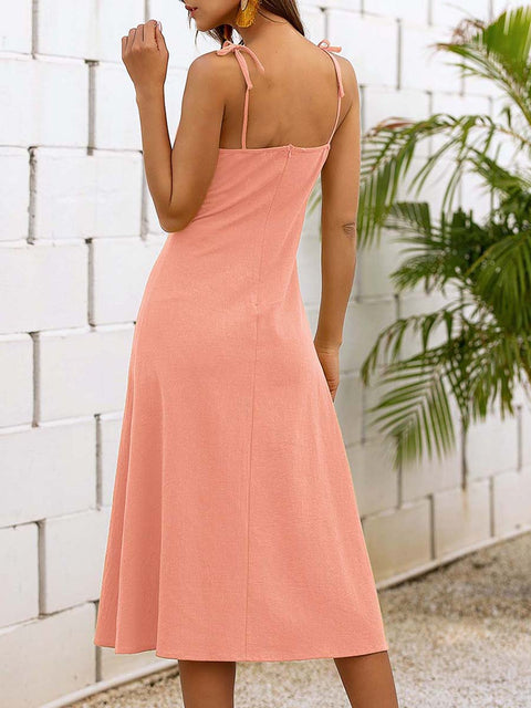 Color=Pink | Sassy Basic Camisole Cotton Summer Dress For Women-Pink 2