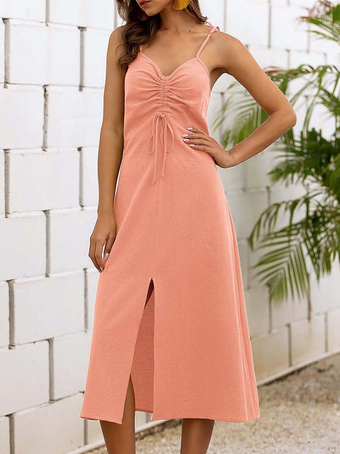Color=Pink | Sassy Basic Camisole Cotton Summer Dress For Women-Pink 3